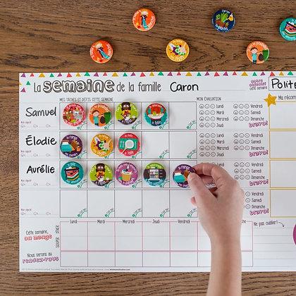Minimo - Organisateur familial Une semaine à la fois – horizontal