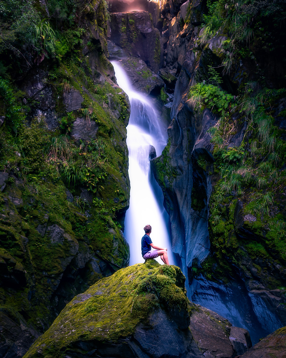 Secret Waterfall Fantail Falls West Coast New Zealand Hidden Gem Off the Beaten Path Photography Man