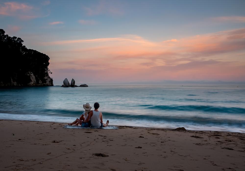 Sunset at Split Apple Rock New Zealand