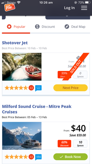 BookMe App best 5 apps for travelling New Zealand