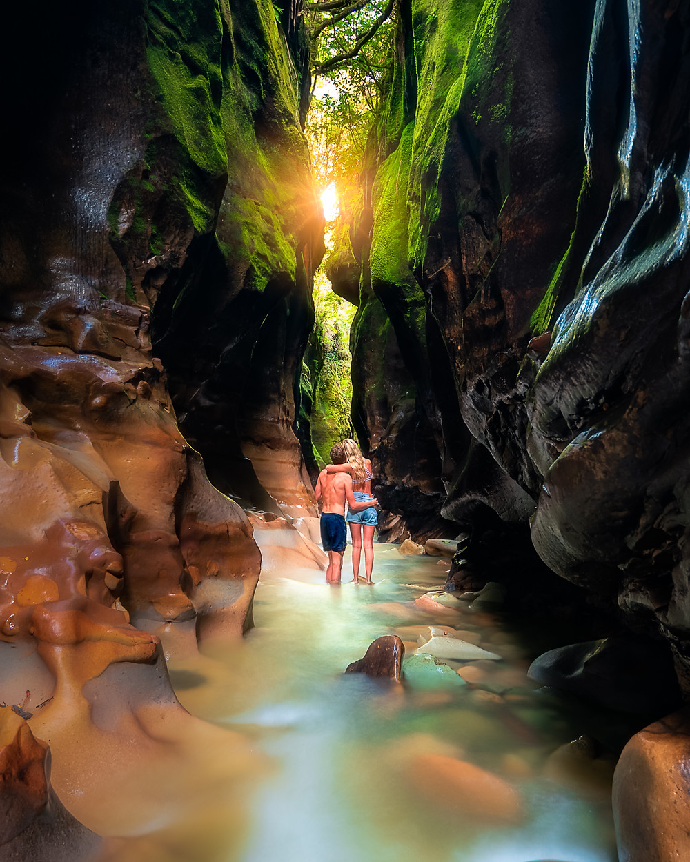 Ford Creek Chasm Blackball Travel Couple Photography Long Exposure Hidden Gem New Zealand Off the Beaten Path
