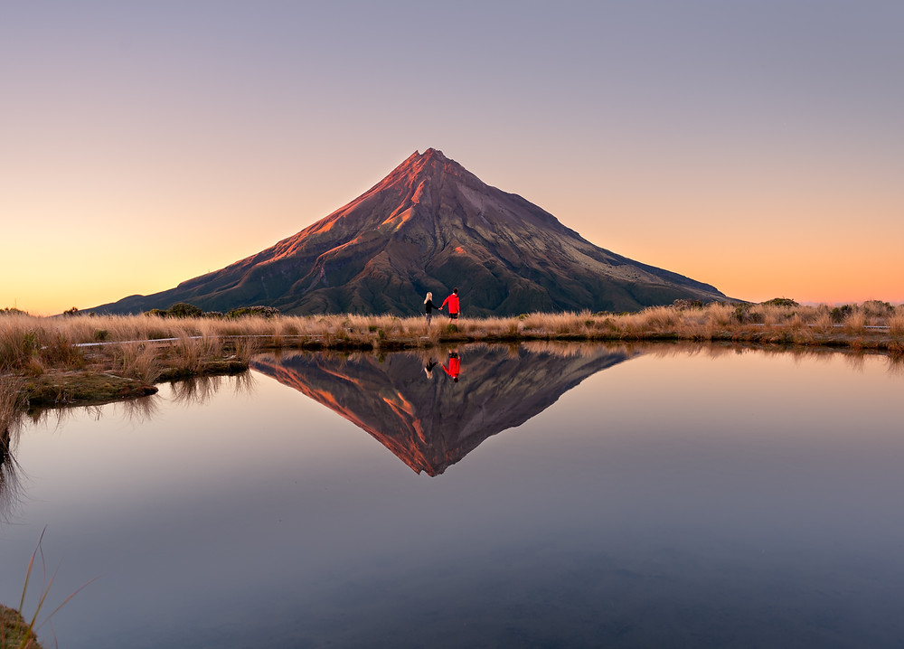 Pouakai Tarn Mount Taranaki sunrise couple Photography