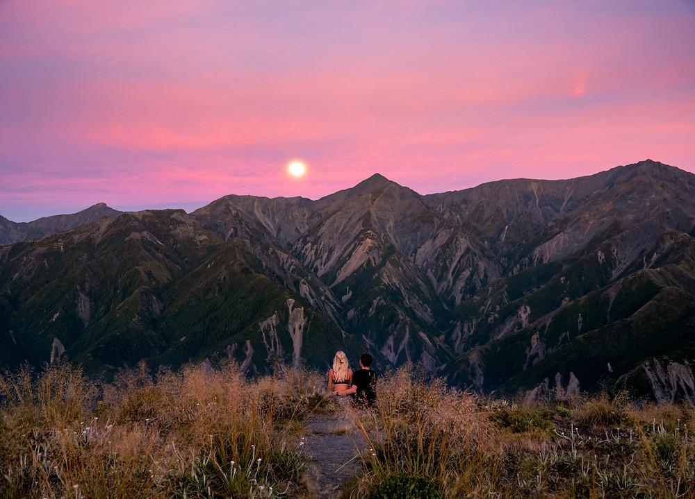 Mount Fyffe Kaikoura Sunrise with Full Moon