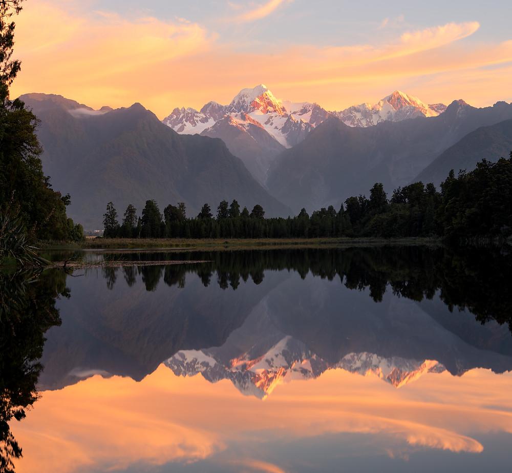 Lake Matheson Mirror Reflection Aoraki Mount Cook