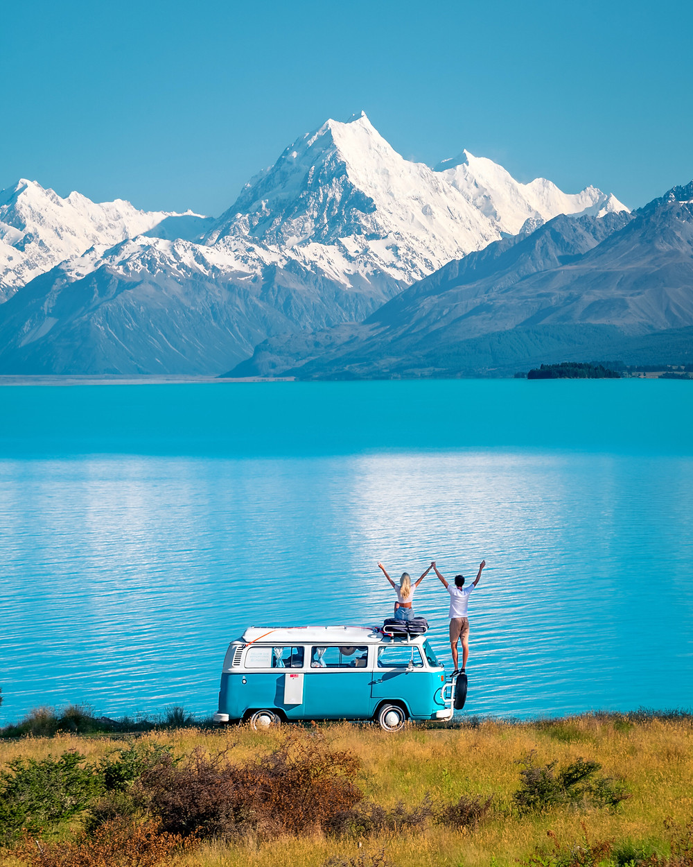 Lake Pukaki Kombi Van Volkswagen Aoraki Mount Cook Photography CJMaddock Away with CJ Charlotte Maddock James Maddock