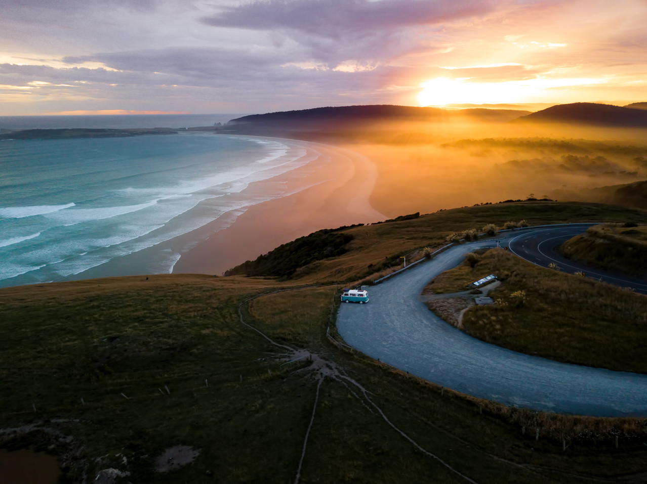 Sunset Florence Hill the Catlins New Zealand NZ