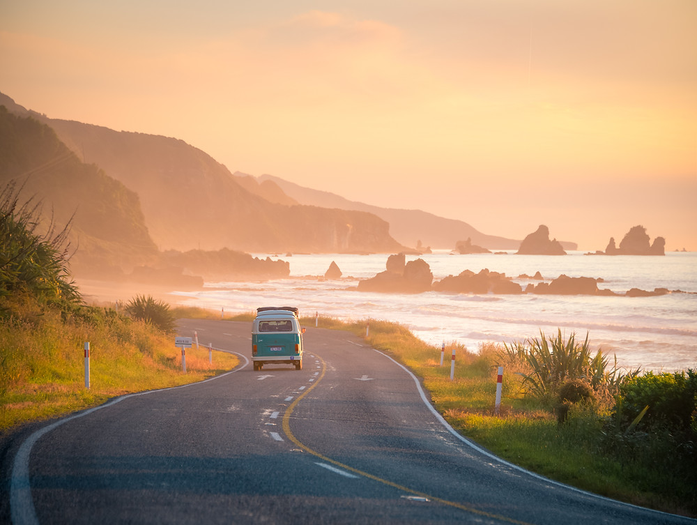 West Coast Sunset New Zealand Photography Drive Road Kombi