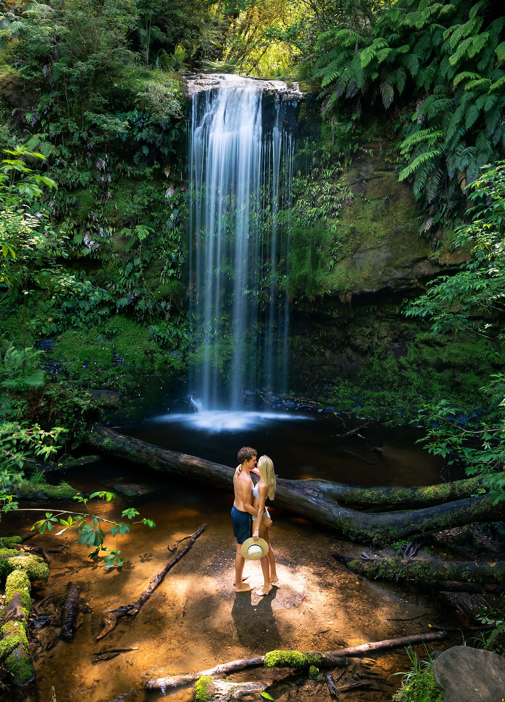 couple at koropuku falls in the catlins