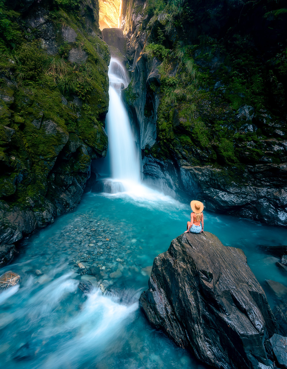 Secret Waterfall Fantail Falls West Coast New Zealand Hidden Gem Off the Beaten Path Photography girl