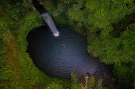 tibumana waterfall bali drone photograph