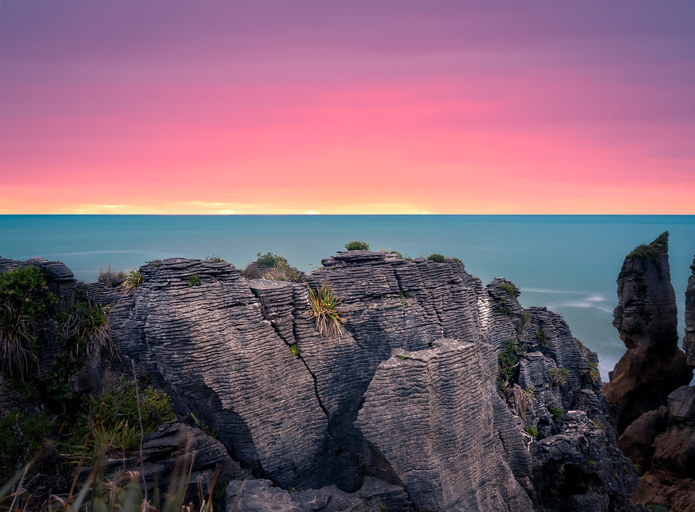 Punakaiki Pancake Rocks West Coast New Zealand NZ Photography Sunset