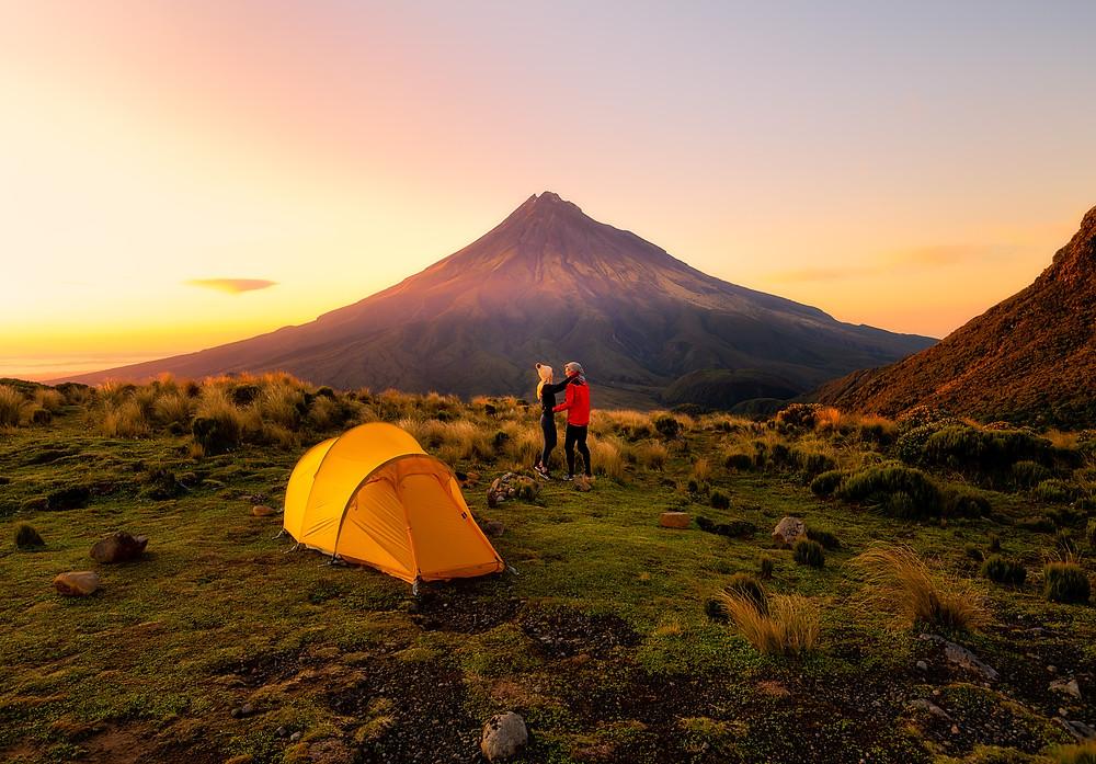 Camping Mount Taranaki Tent Couple