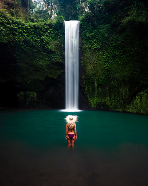 tibumana waterfall bali girl