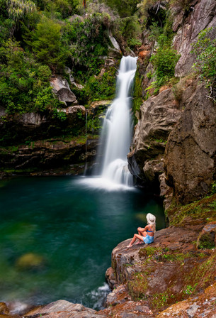 Wainui Falls Girl New Zealand