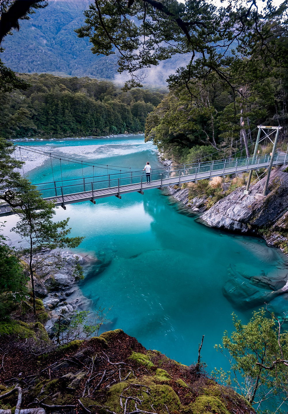 early morning at blue pools mt aspiring with swing bridge