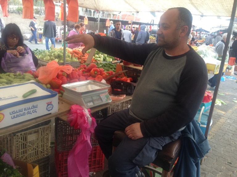 Moshe, a second-generation vendor at the Shuk.[