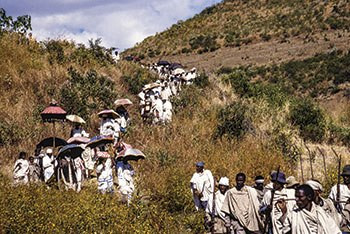 Jews return from worshipping atop a mountain in Ethiopia.