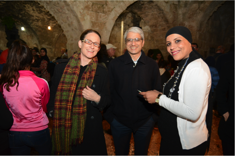 Jindas CEO, Avital Blonder (seen on the left, beside Aharon Atias and Faten al-Zinaty, Director of Mosaic: Lod's Multicultural Center
