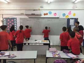 A photo my friend Jodie caught of me leading a game in class at Elrazi school to teach English.
