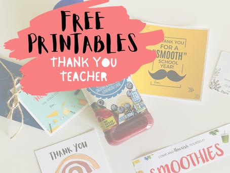 Thank You Teacher - Free Printables