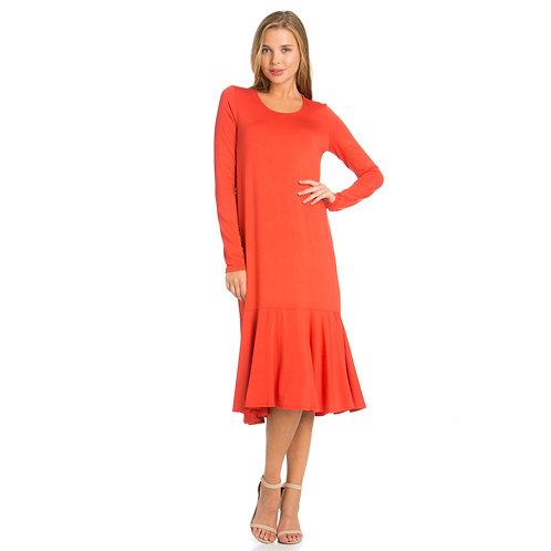 Ruffle Hem Long Sleeve Midi Dress