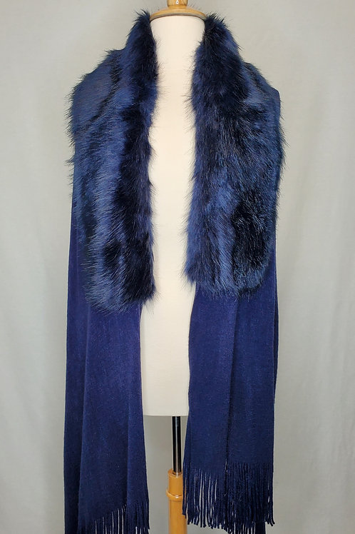 Knitted Faux Fur collared Shawl