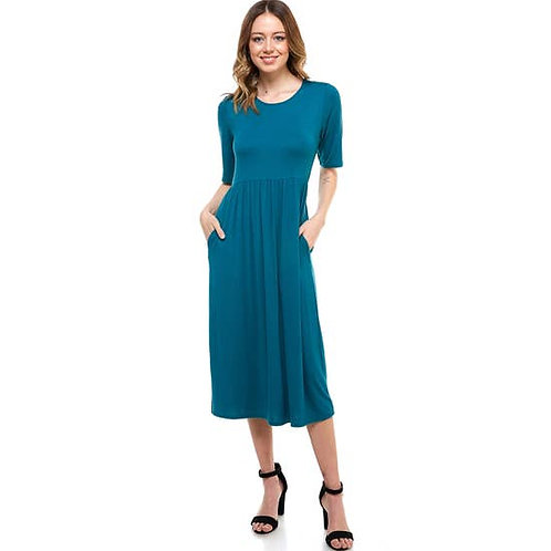 Elastic Waist Midi Dress With Pocket