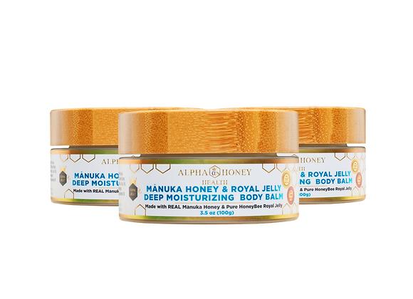 Mix & Match Fragrance: 3 Jar Manuka Honey & Royal Jelly Body Balm Deep Moisture