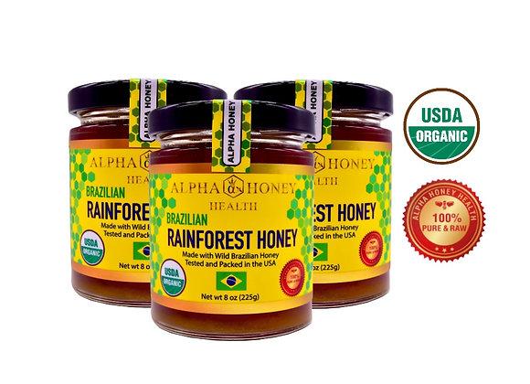 Brand New!!! 3 Jar 100% USDA Organic Rainforest Honey from Brazil