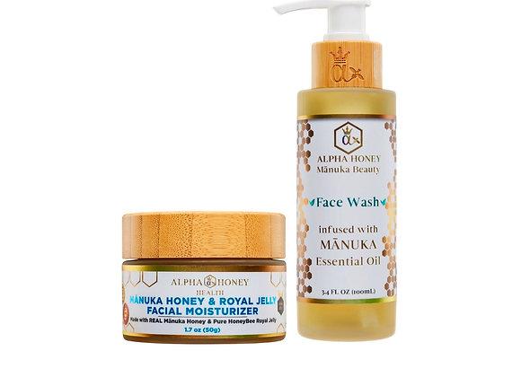 Manuka Oil Antibacterial Face Wash & Manuka Honey Serum Face Moisturizer