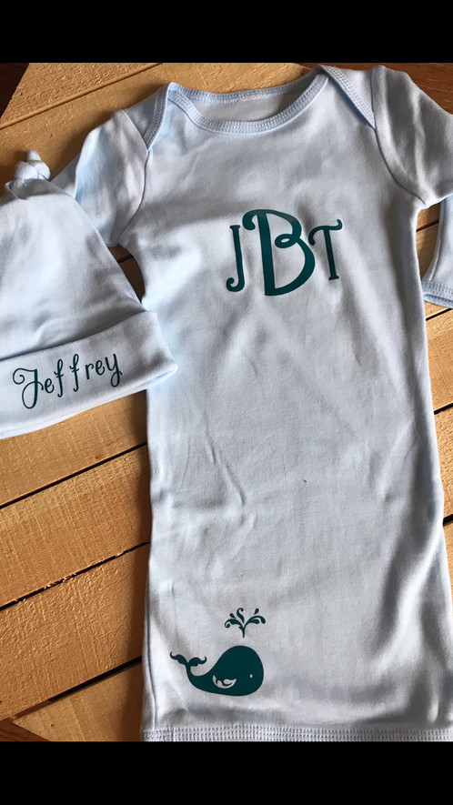 Baby boy personalized coming home outfit with matching hat sweet baby blue gown with a nautical theme personalized with monogram and one adorable little whale perfect for a baby shower gift negle Choice Image
