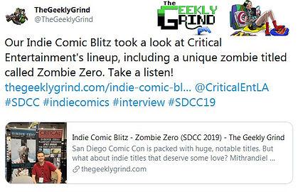 TheGeeklyGrind Indie Comic Blitz - Zombie Zero SDCC 2019
