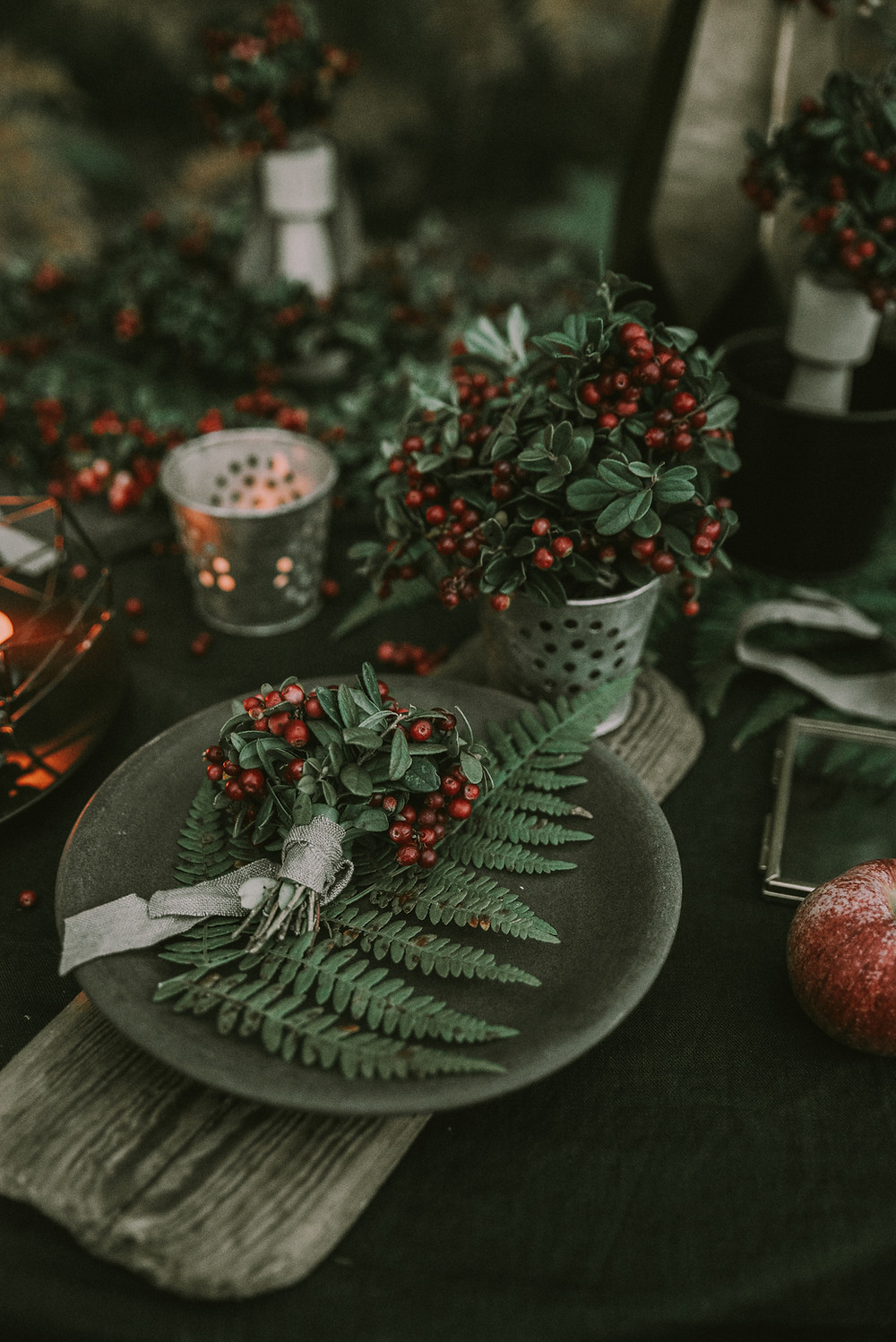 Berries, Ferns, and rustic wedding decor