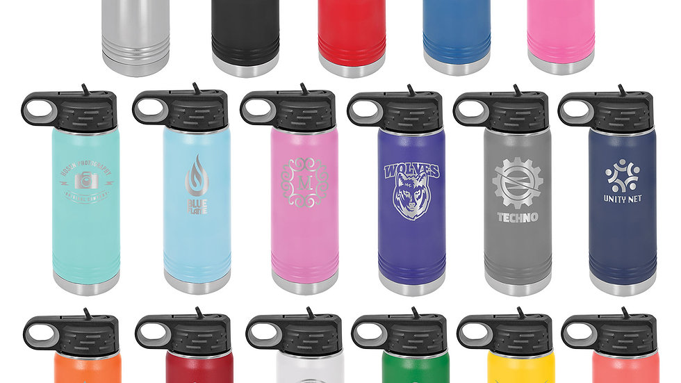 20oz insulated water bottle with sports lid.