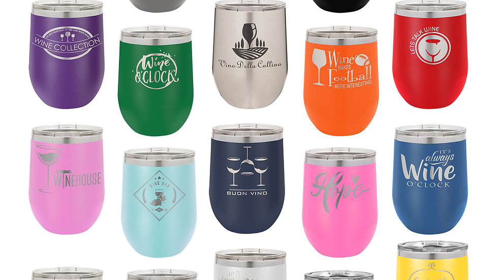 12oz stainless wine tumbler. standard engraving included