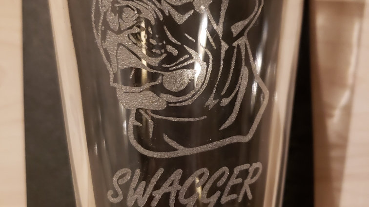 16oz beer glass With SWAGGER memorial