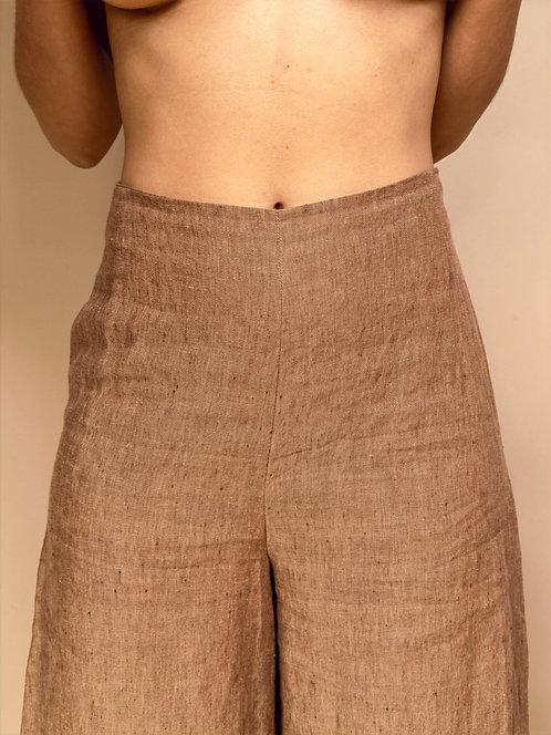 Handmade Dirt Brown Linen Palazzo Pants