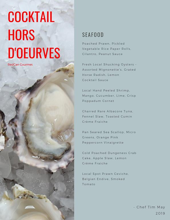 RedCan Seafood Hors D'oeurves Menu