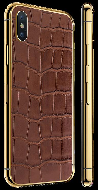 iPhone XS Gold 24k Brown Alligator