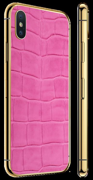 iPhone X Gold Pink Alligator