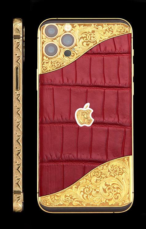iPhone 12 Pro Ornate Aristocrat Gold 24k Red Alligator