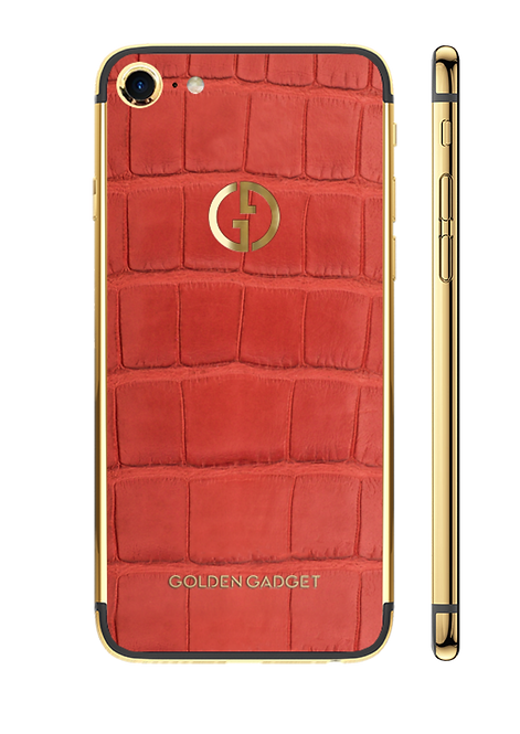 iPhone 8 Gold 24k Red Alligator