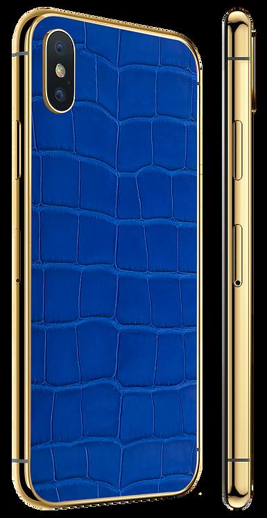 iPhone X Gold Blue Alligator