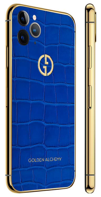 iPhone 11 Pro Gold Cobalt Blue Alligator