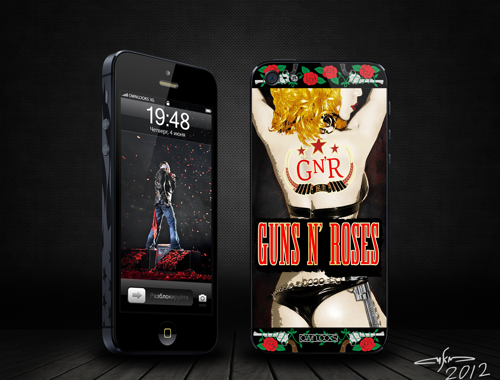 Guns-and-roses-iPhone-black-design