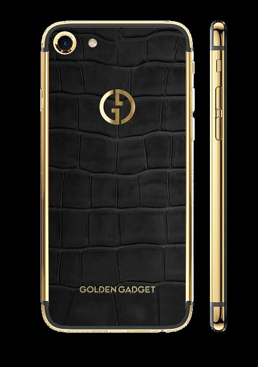 iPhone 8 Gold 24k Black Alligator