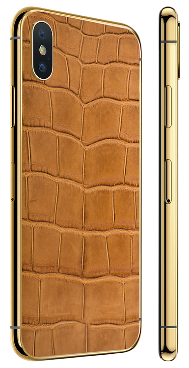 iPhone XS Gold Light Brown Alligator