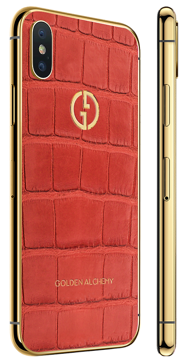 iPhone XS Gold Red Alligator