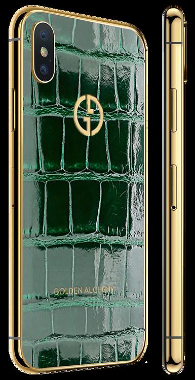 iPhone XS Gold 24k Green Glazed Alligator