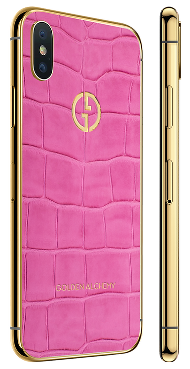 iPhone XS Gold Pink Alligator